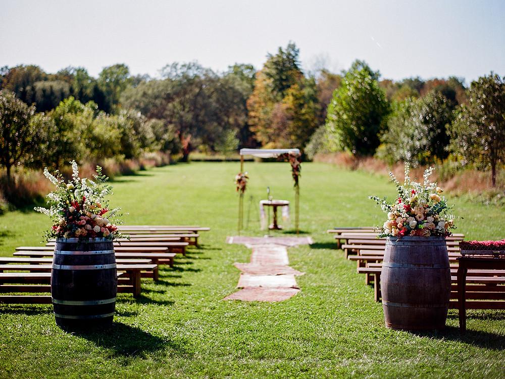 Outdoor wedding ceremony inspiration: Vintage Glam Barn Wedding at The Treman Center