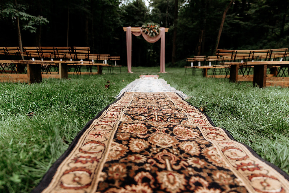 Vintage Rug Aisle Runner: Warm Toned Backyard Wedding on Skaneateles Lake in Spafford, NY featured on Pretty Little Vintage Co.