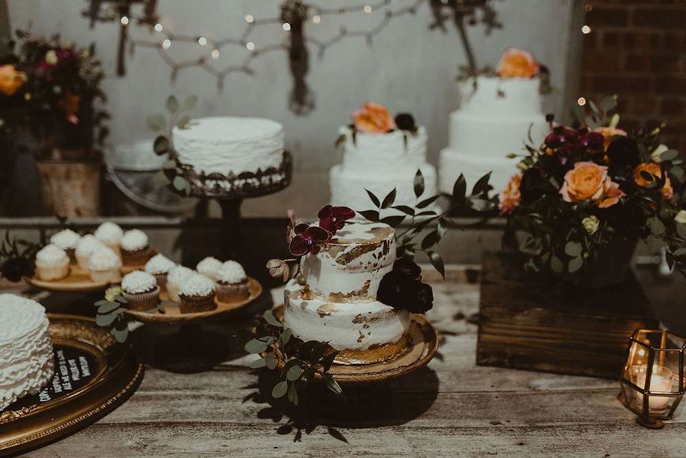 Wedding Dessert Display: Industrial & Copper Styled Wedding Shoot at Smith's Market featured on Pretty Little Vintage Co.