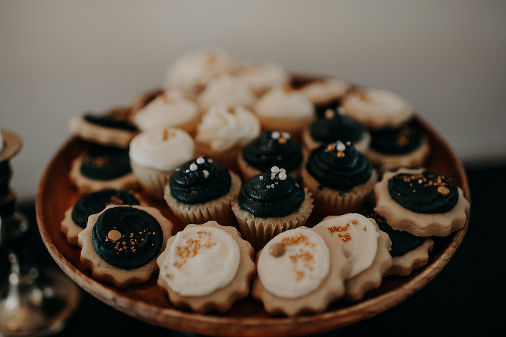 Moody wedding desserts