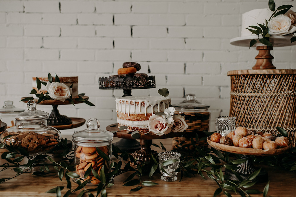 Bridal shower cake and dessert table ideas: Earthy & Modern Bridal Shower Inspiration by Pretty Little Vintage Co. featured on The Lincoln Loft & Studio blog