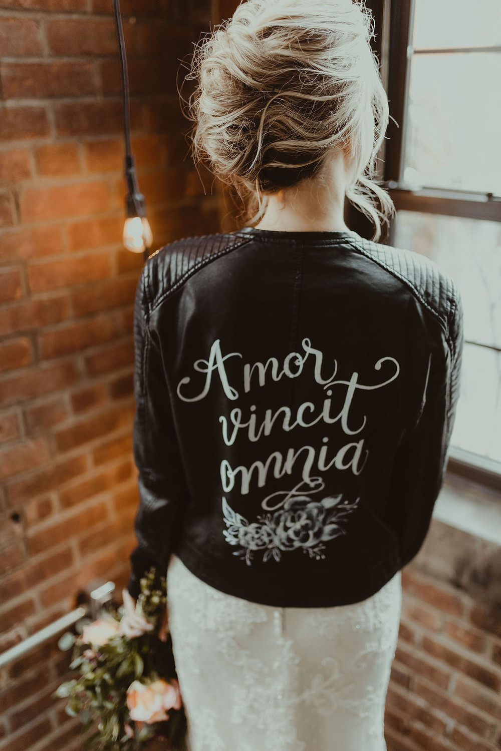 Edgy Bridal Updo and Leather Bridal Jacket: Industrial & Copper Styled Wedding Shoot at Smith's Market featured on Pretty Little Vintage Co.