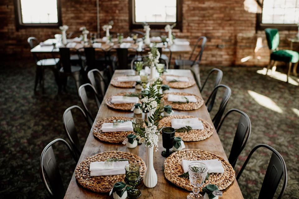 Hairpin table and gunmetal chairs: Modern Greenery Baby Shower at Maggie's on the River featured on Pretty Little Vintage Co.