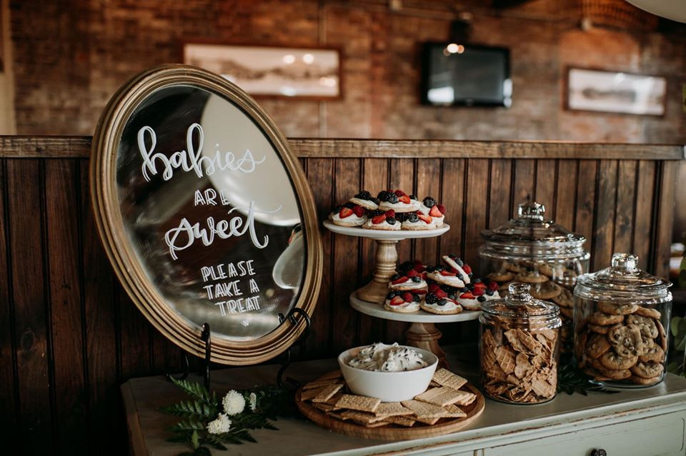 Dessert table sign: Modern Greenery Baby Shower at Maggie's on the River featured on Pretty Little Vintage Co.
