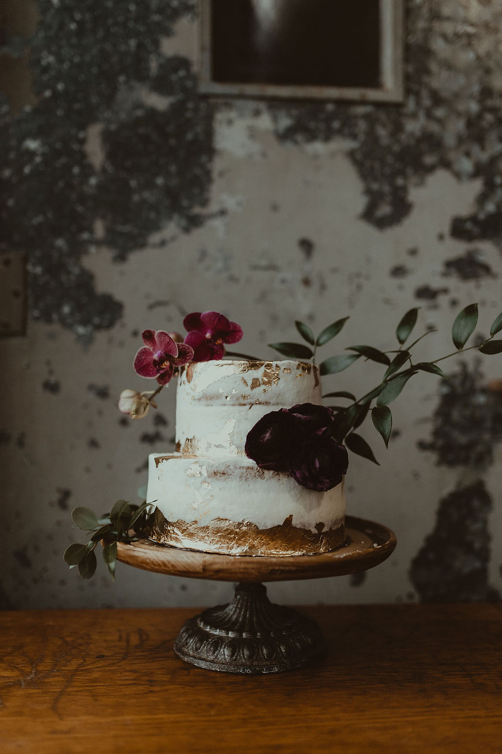 Wedding Cake on Wooden Cake Stand: Industrial & Copper Styled Wedding Shoot at Smith's Market featured on Pretty Little Vintage Co.