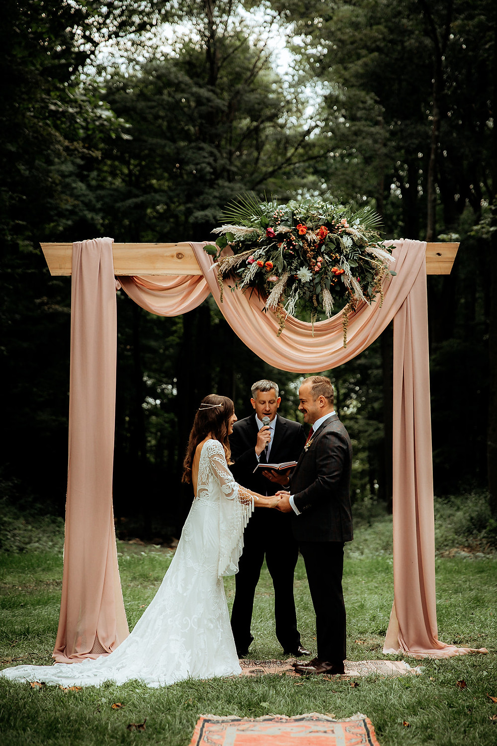 Wedding ceremony ideas: Warm Toned Backyard Wedding on Skaneateles Lake in Spafford, NY featured on Pretty Little Vintage Co.