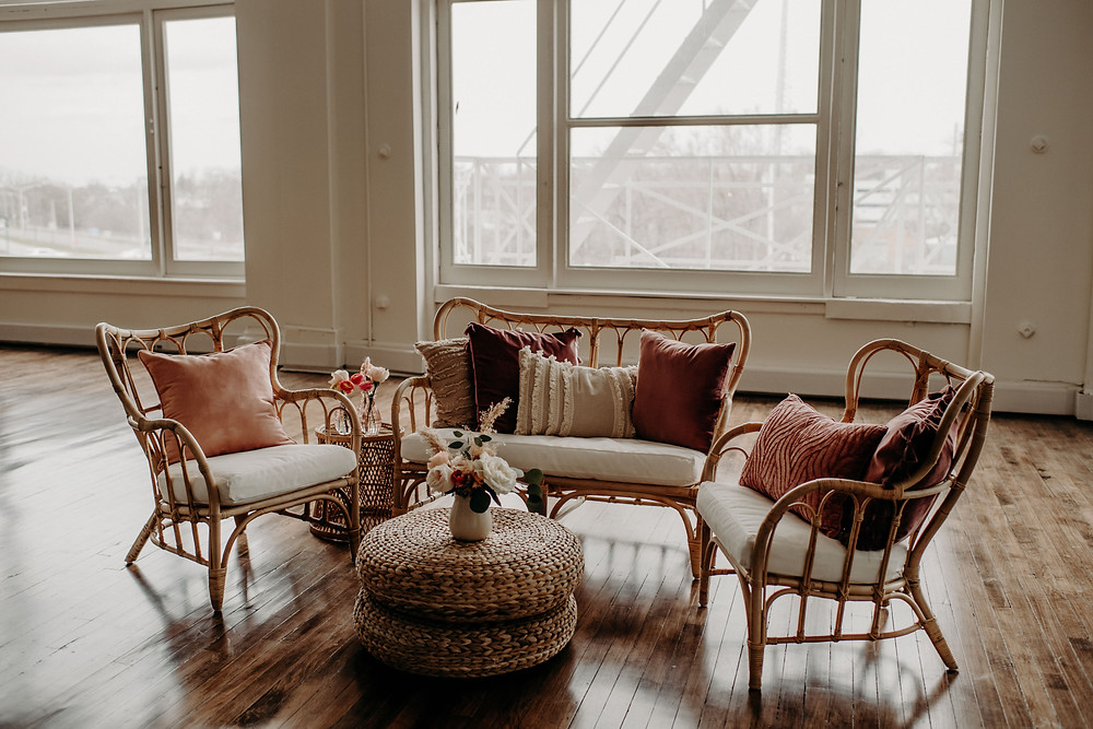 Wicker event lounge area: Citrus Colored Baby Shower Inspiration with Pretty Little Vintage Co.