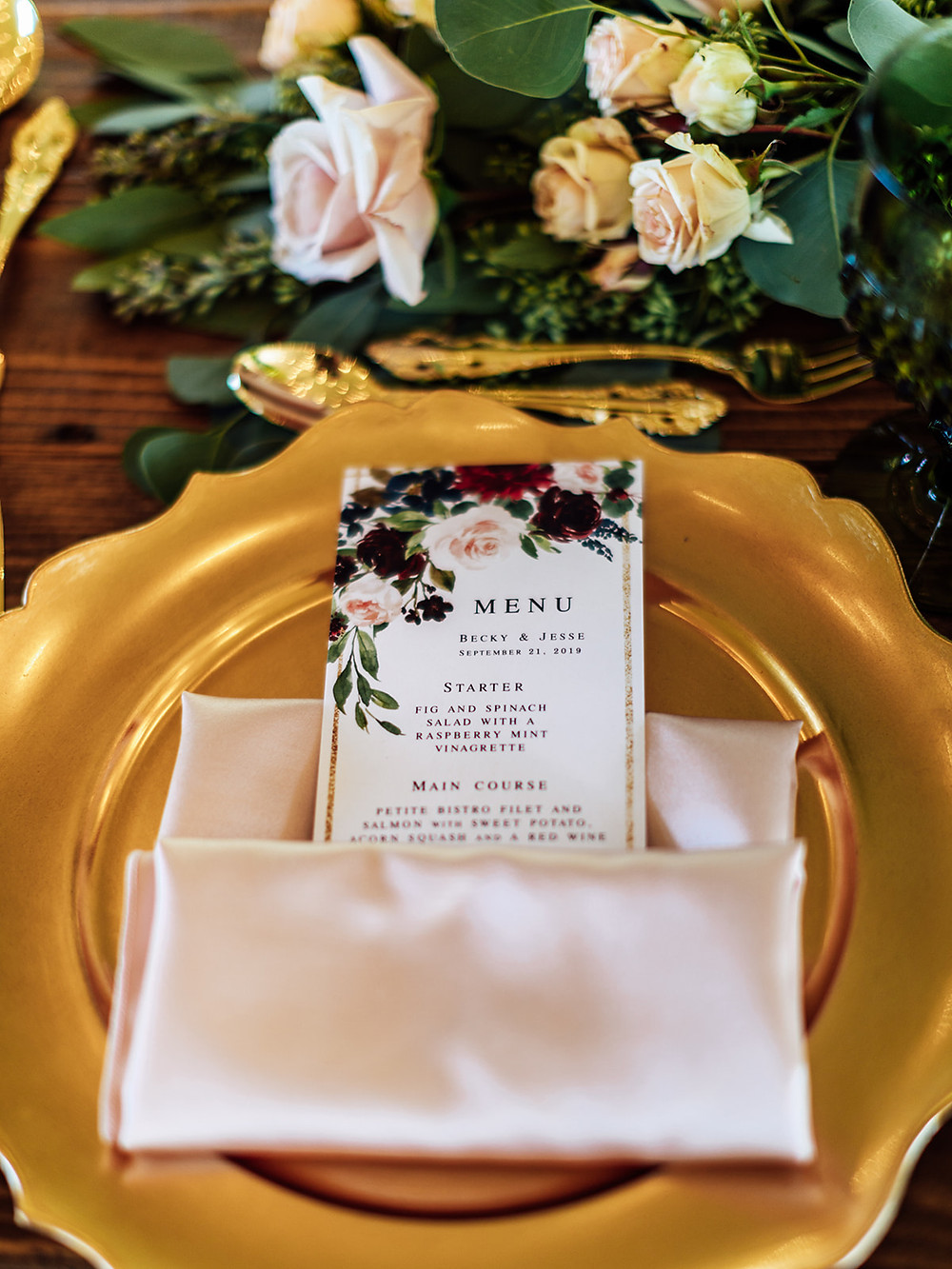 Gold scalloped wedding charger: Vintage Glam Barn Wedding at The Treman Center
