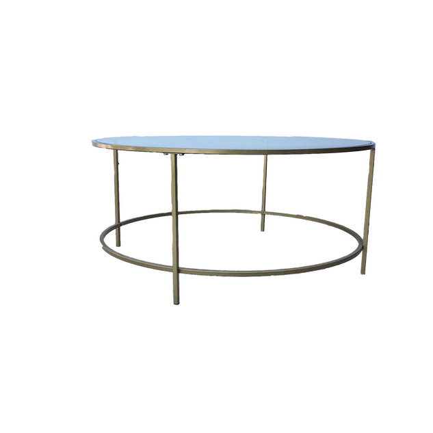 Gold & Glass Round Coffee Table