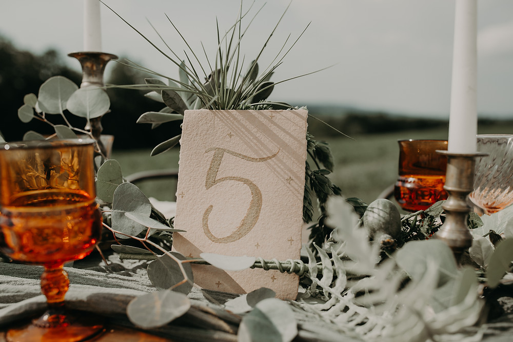 Wedding table numbers; Boho TerraCotta Wedding Styled Shoot at Red Barn 20