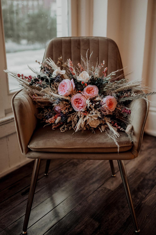 Organic boho wedding bouquet: Modern Boho Wedding at The Lincoln Loft