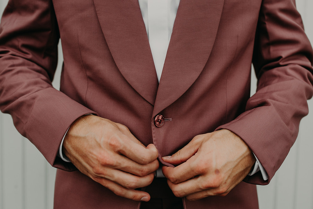 Burgundy grooms suit: Boho TerraCotta Wedding Styled Shoot at Red Barn 20