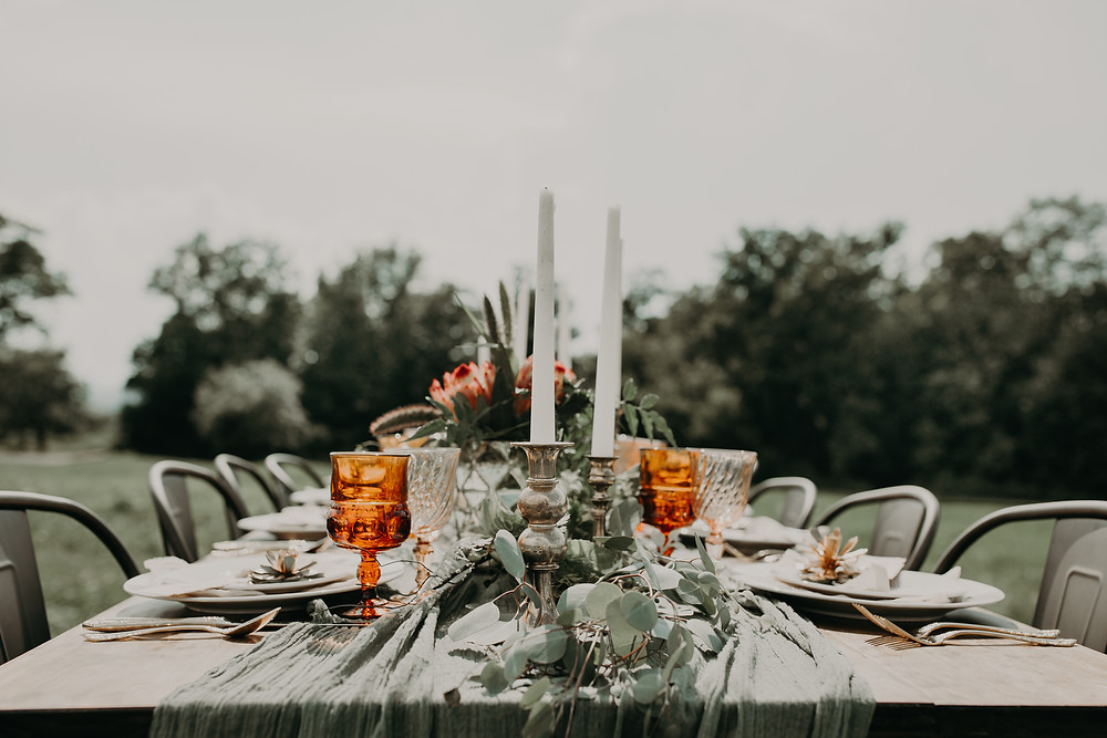 Romantic wedding table decor: Boho TerraCotta Wedding Styled Shoot at Red Barn 20
