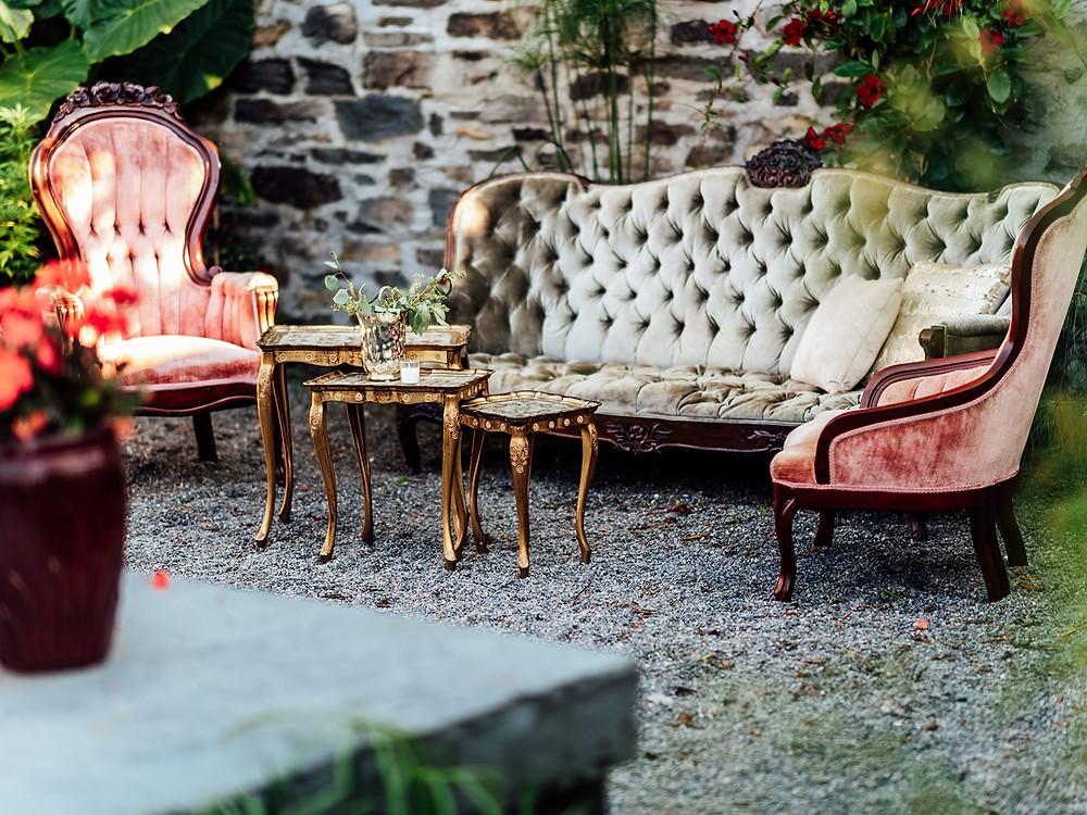 Vintage settee lounge: Vintage Glam Barn Wedding at The Treman Center
