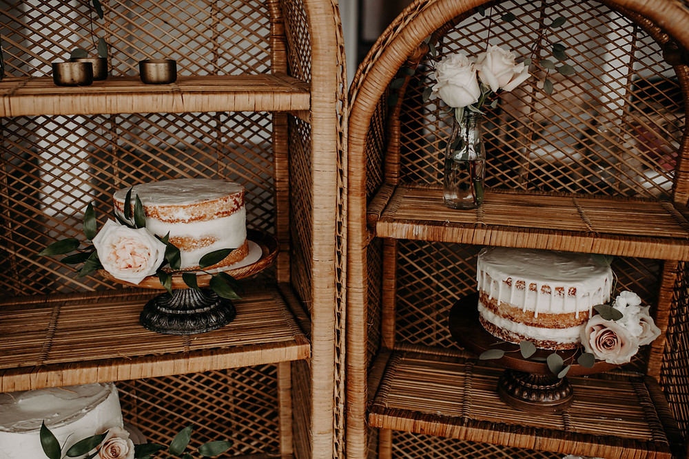 Boho rounded rattan shelves cake display: Earthy & Modern Bridal Shower Inspiration by Pretty Little Vintage Co. featured on The Lincoln Loft & Studio blog