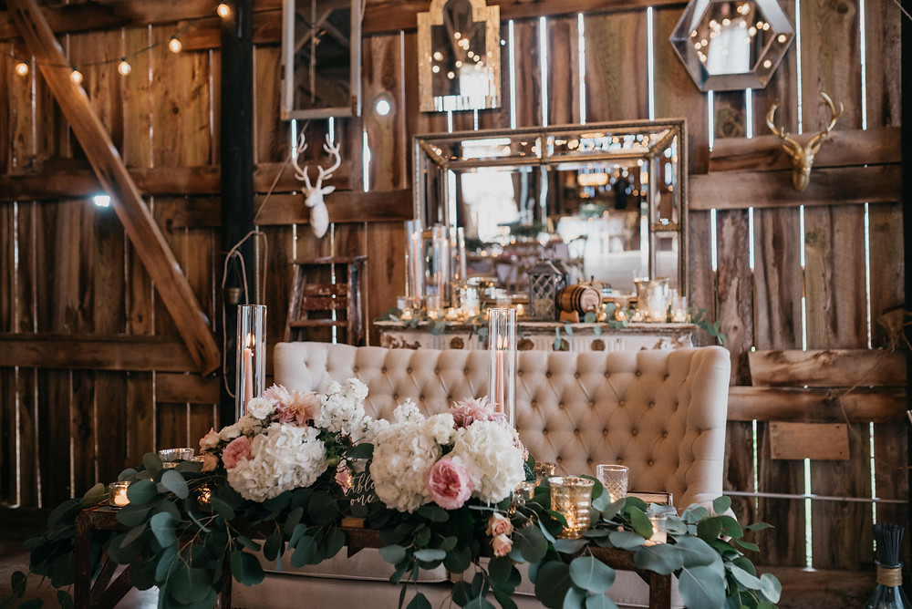 Wedding Sweetheart Table: Vintage Glam Gilbertsville Farmhouse Wedding featured on Pretty Little Vintage Co.