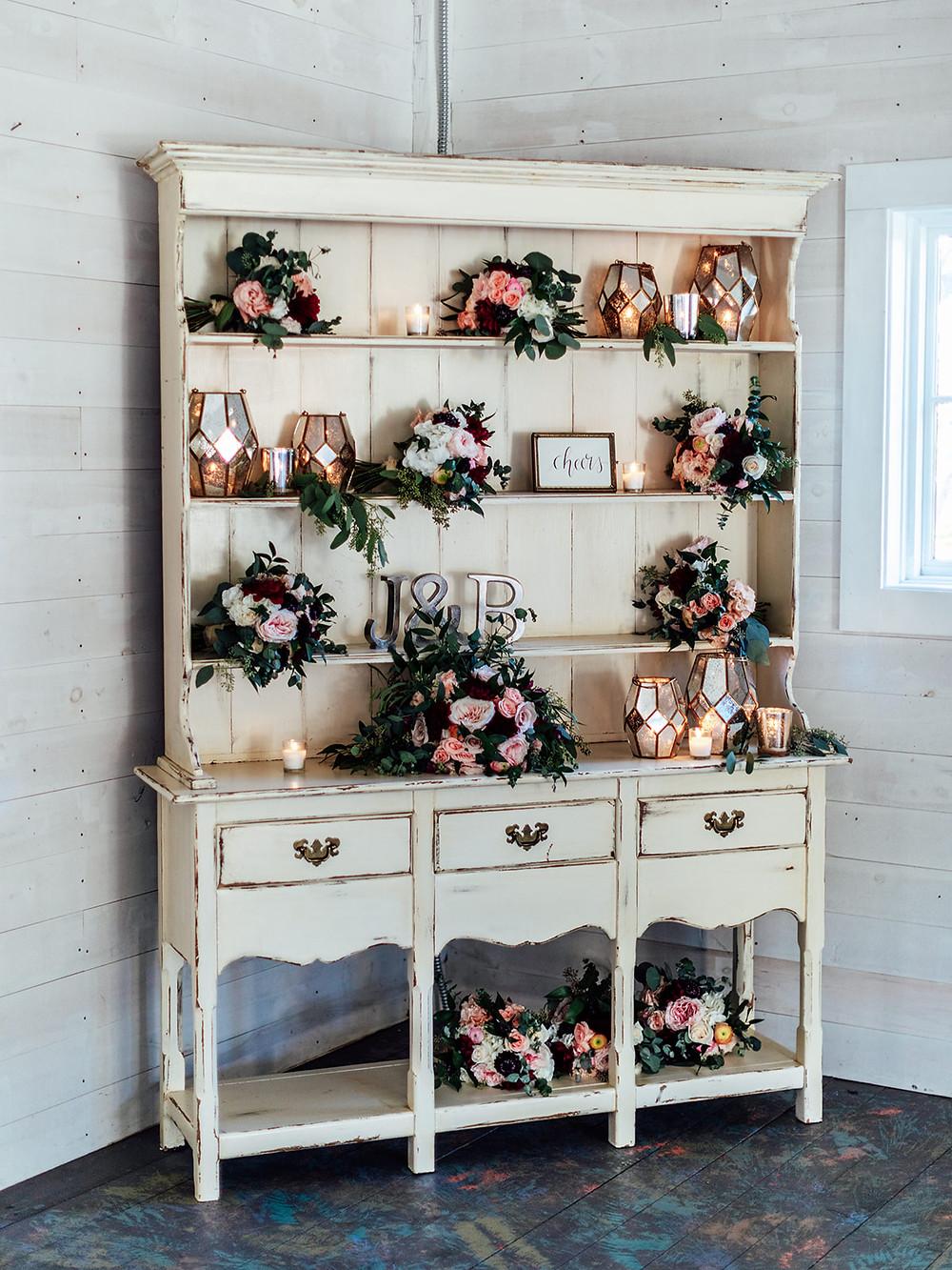 Vintage wedding display decor: Vintage Glam Barn Wedding at The Treman Center