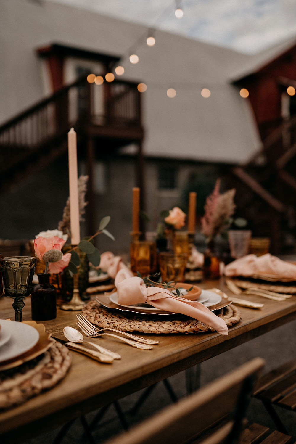 Outdoor Wedding Reception Decor: Warm & Rustic Styled Shoot at Hayloft in the Arch captured by Tracy Jade Photography featured on Pretty Little Vintage Co.