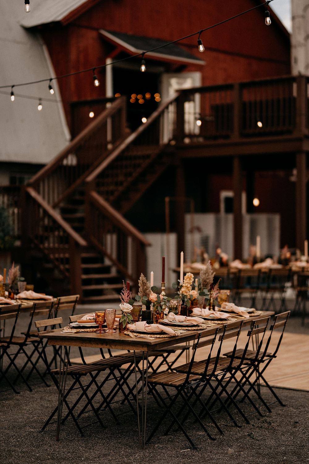 Bistro Wedding Table Chairs: Warm & Rustic Styled Shoot at Hayloft in the Arch captured by Tracy Jade Photography featured on Pretty Little Vintage Co.