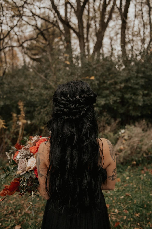 Braided half up-half down wedding inspiration: Dark & Romantic Wedding Inspiration featured on Pretty Little Vintage Co.