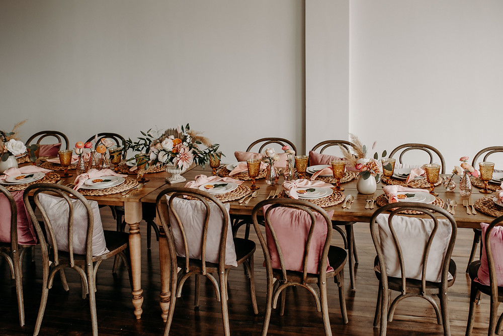 Pink boho farm table inspiration: Citrus Colored Baby Shower Inspiration with Pretty Little Vintage Co.
