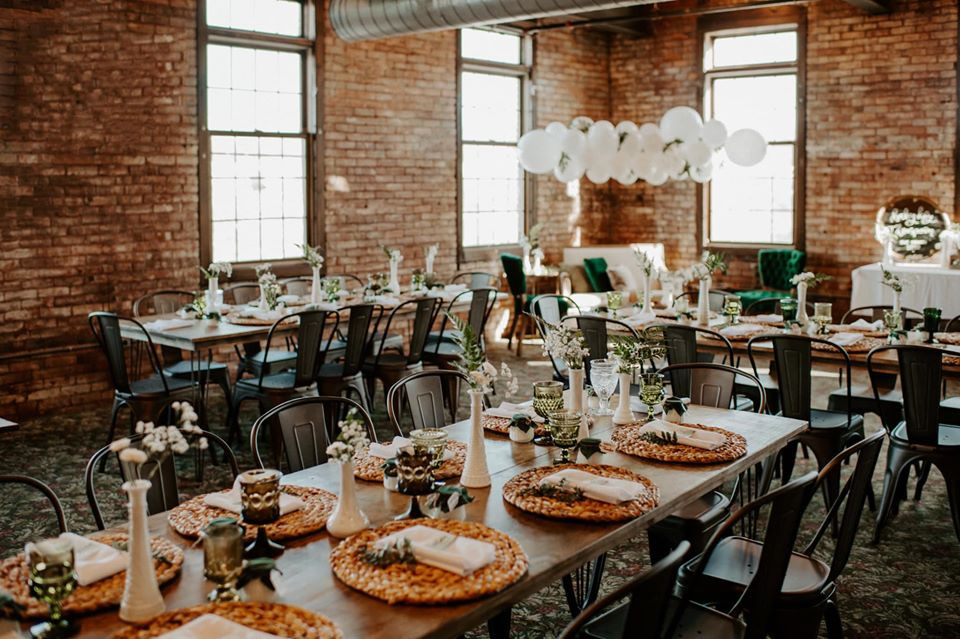 Warehouse bridal shower inspiration: Modern Greenery Baby Shower at Maggie's on the River featured on Pretty Little Vintage Co.