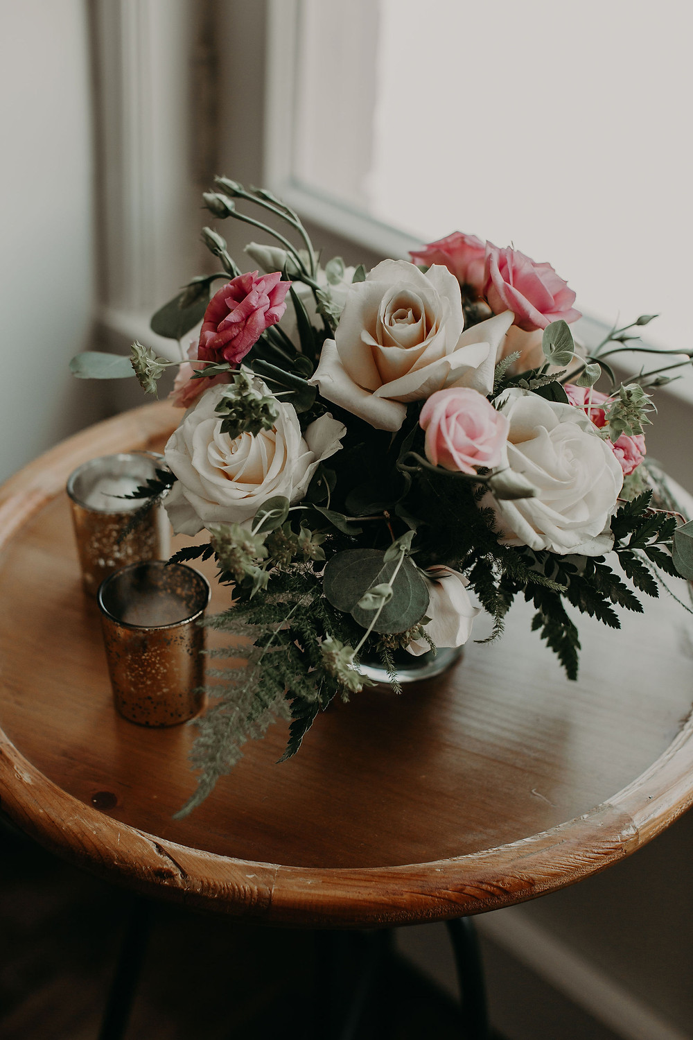 Pink and ivory wedding flowers: Summer Small Wedding at The Lincoln Loft by Pretty Little Vintage Co.