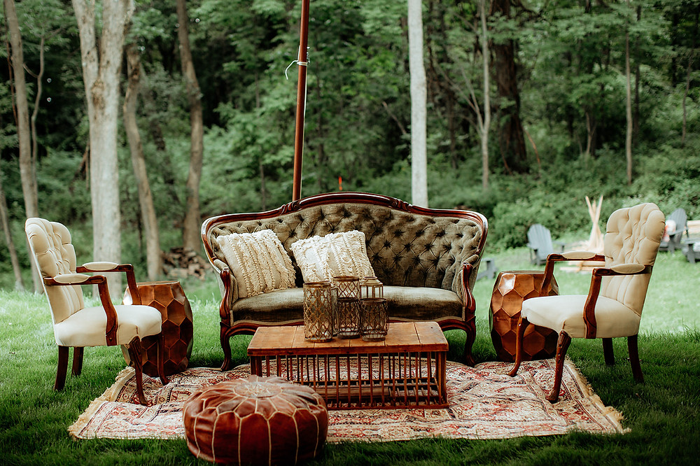 Wedding Lounge Area: Warm Toned Backyard Wedding on Skaneateles Lake in Spafford, NY featured on Pretty Little Vintage Co.