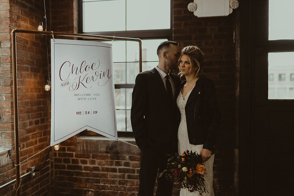 Industrial Chic Wedding Sign: Industrial & Copper Styled Wedding Shoot at Smith's Market featured on Pretty Little Vintage Co.