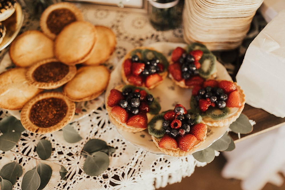 Wedding Dessert Table Display: Charming Bohemian Gilbertsville Farmhouse Wedding captured by Rachel Liz Photography featured on Pretty Little Vintage Co
