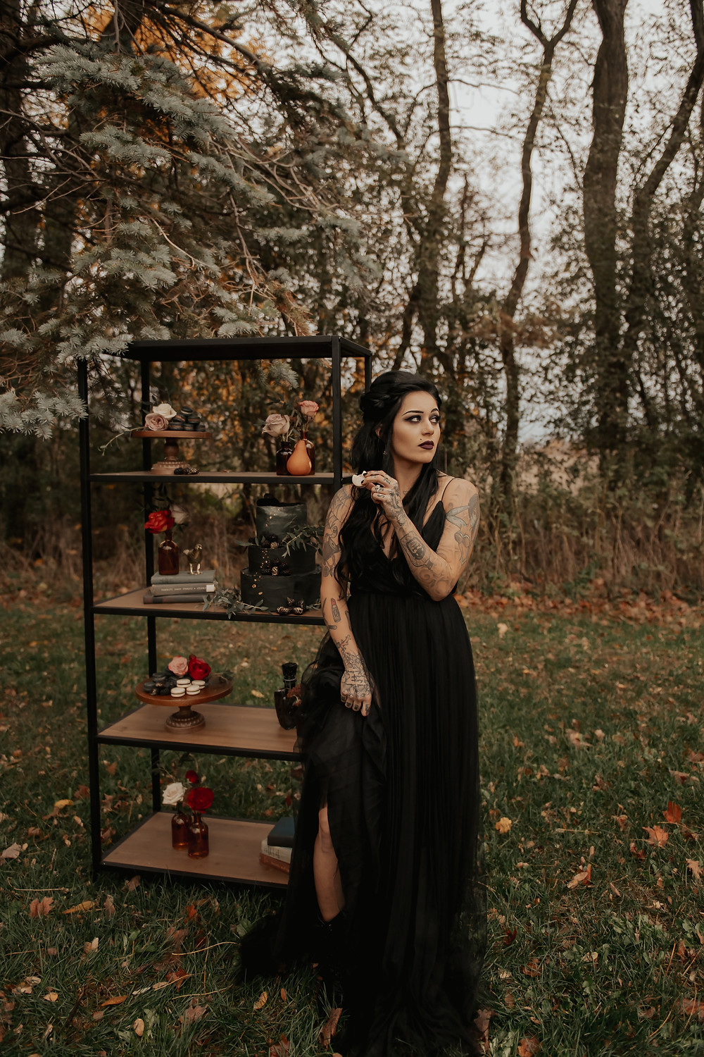 Fall outdoor wedding cake display: Dark & Romantic Wedding Inspiration featured on Pretty Little Vintage Co.