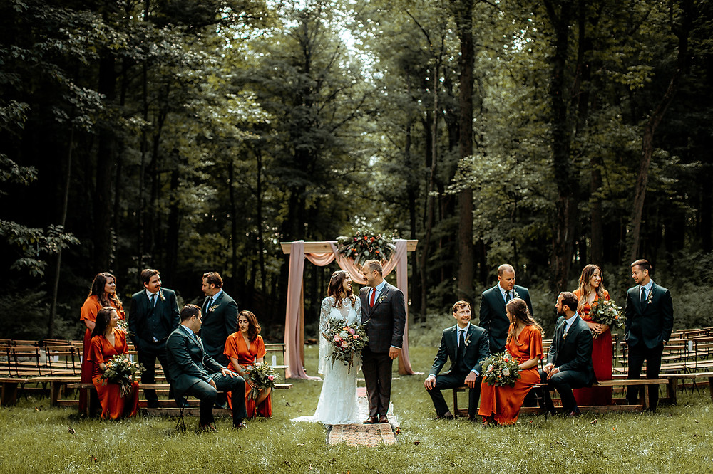 Fall wedding ceremony: Warm Toned Backyard Wedding on Skaneateles Lake in Spafford, NY featured on Pretty Little Vintage Co.