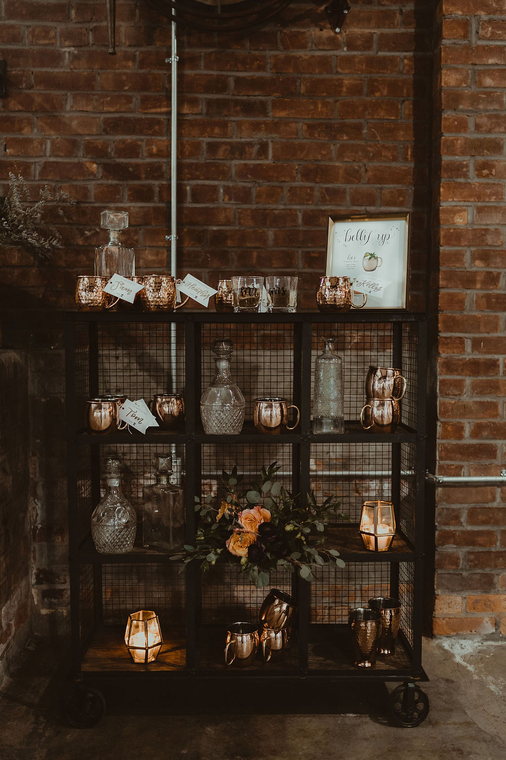 Mule Bar Wedding Display: Industrial & Copper Styled Wedding Shoot at Smith's Market featured on Pretty Little Vintage Co.