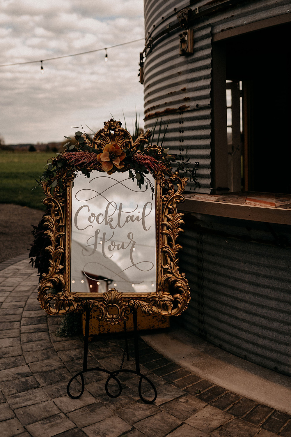 Wedding Cocktail Hour Sign: Warm & Rustic Styled Shoot at Hayloft in the Arch captured by Tracy Jade Photography featured on Pretty Little Vintage Co.