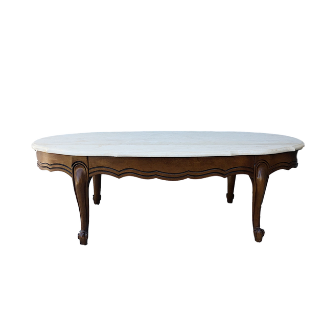 Wood & Marble Oval Table
