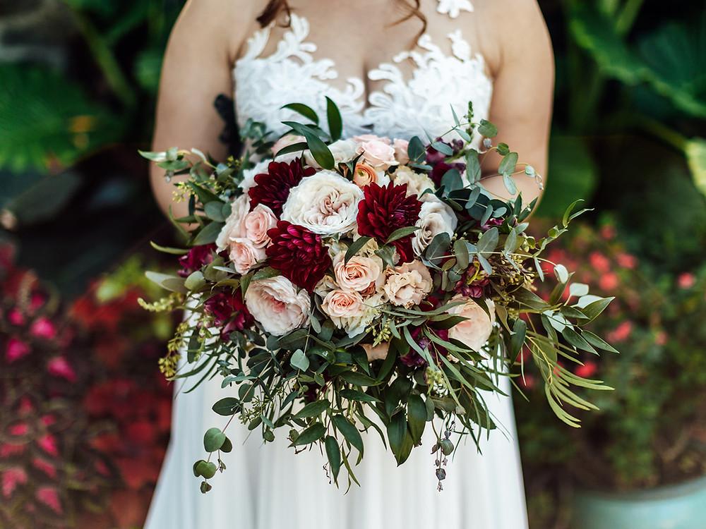Ithaca Flower Shop Wedding Bouquet: Vintage Glam Barn Wedding at The Treman Center