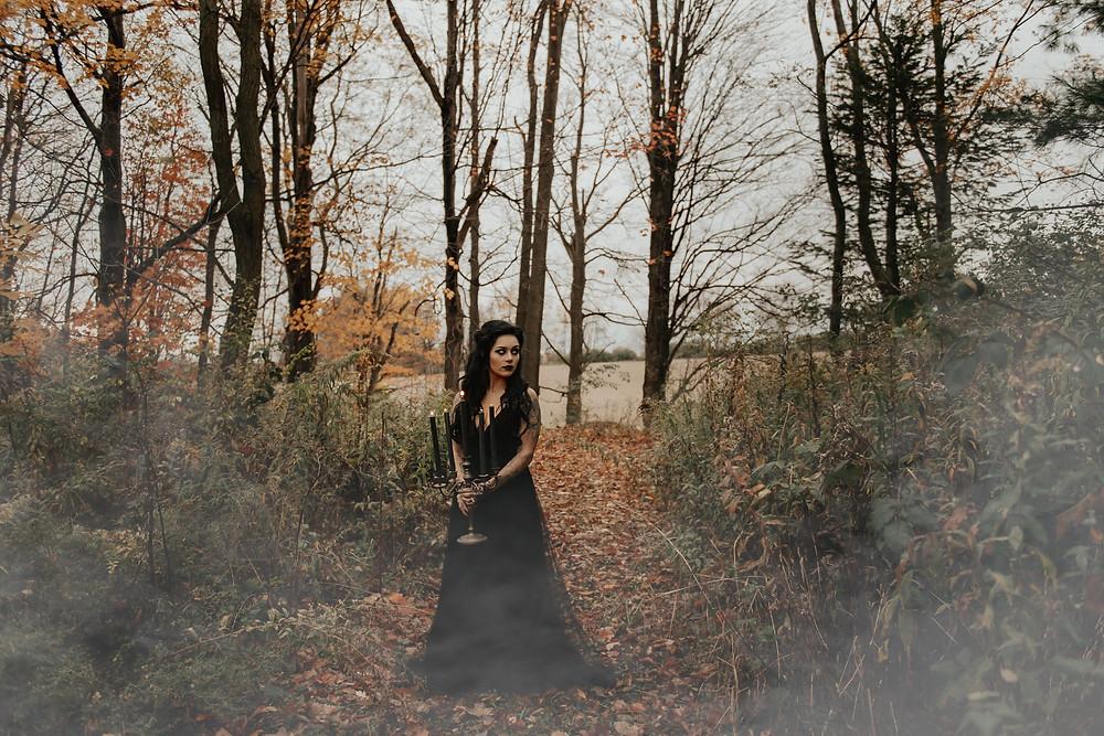 Black wedding dress: Dark & Romantic Wedding Inspiration featured on Pretty Little Vintage Co.