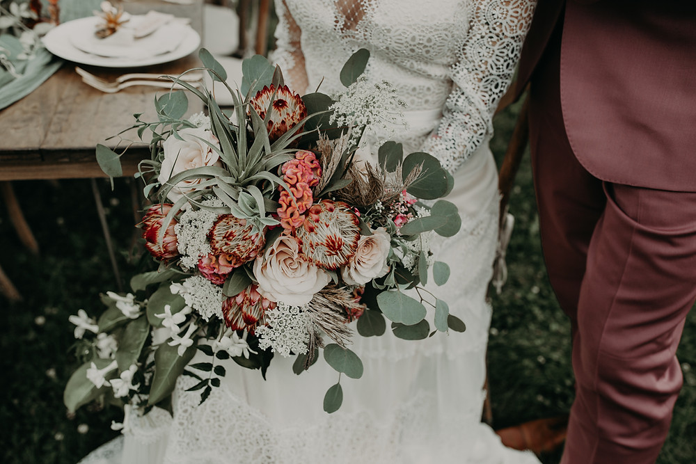 Boho wedding bouquet: Boho TerraCotta Wedding Styled Shoot at Red Barn 20