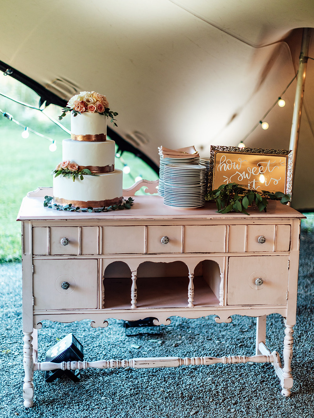 Antique wedding cake table decor: Vintage Glam Barn Wedding at The Treman Center