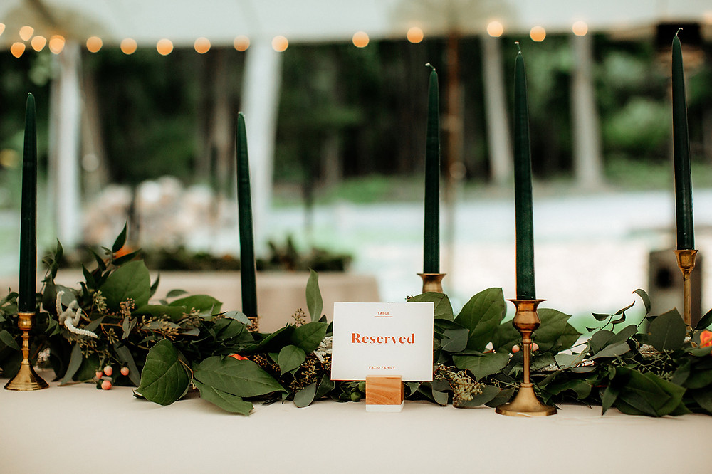 Brass Candlesticks: Warm Toned Backyard Wedding on Skaneateles Lake in Spafford, NY featured on Pretty Little Vintage Co.