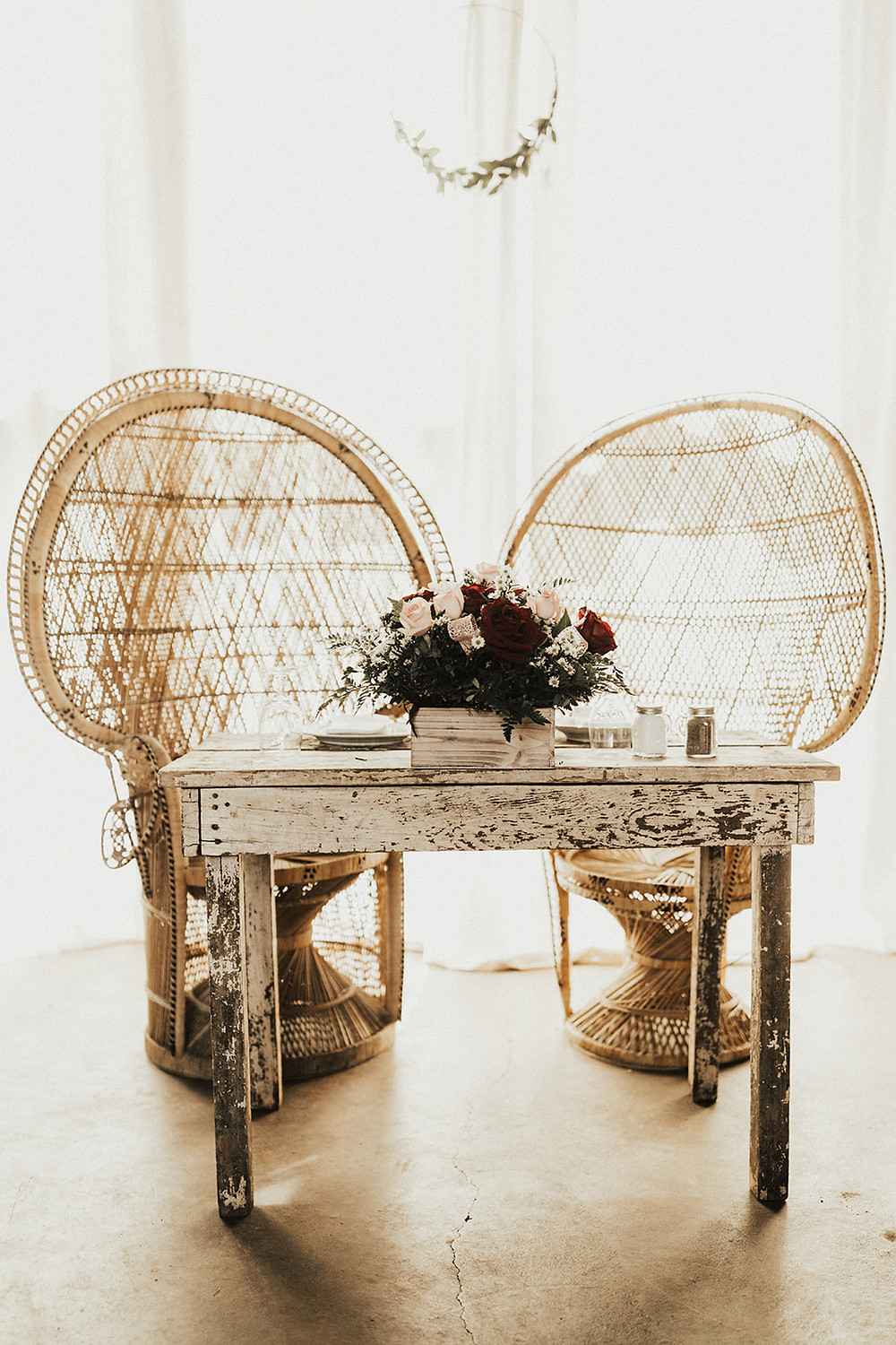 Peacock Wedding Chairs: Charming Bohemian Gilbertsville Farmhouse Wedding captured by Rachel Liz Photography featured on Pretty Little Vintage Co