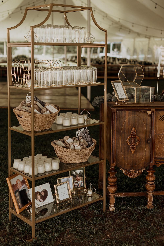 Modern gold shelves wedding decor display