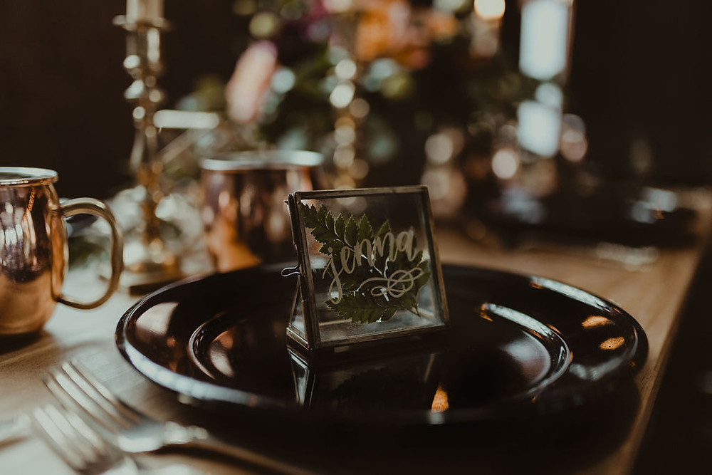 Terrarium Wedding Escort Card: Industrial & Copper Styled Wedding Shoot at Smith's Market featured on Pretty Little Vintage Co.