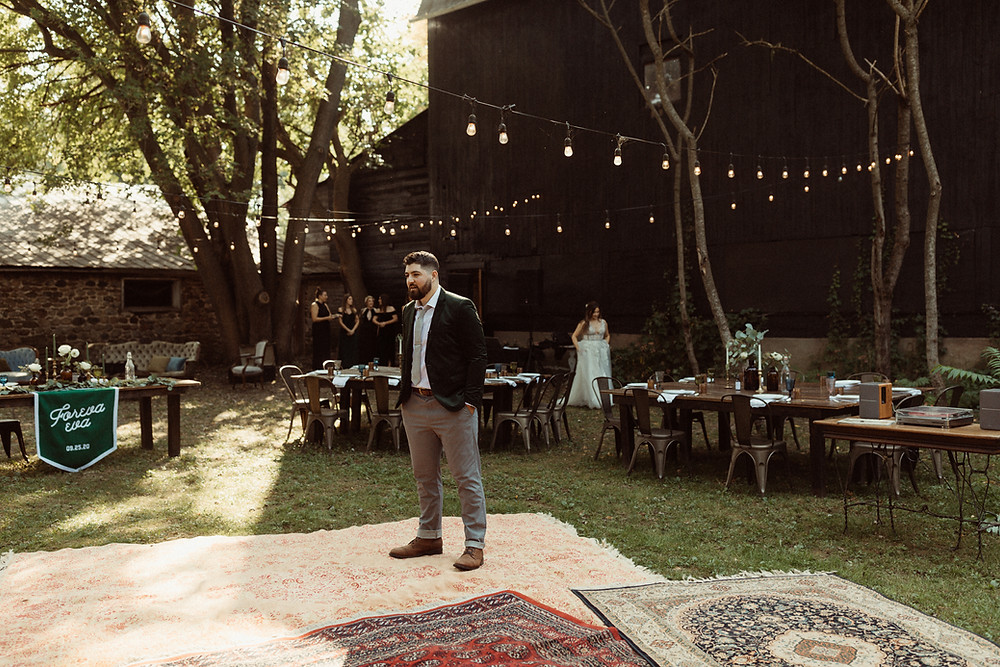 Wedding First Look Outdoor wedding at The Kester Homeland | Pretty Little Vintage Co.