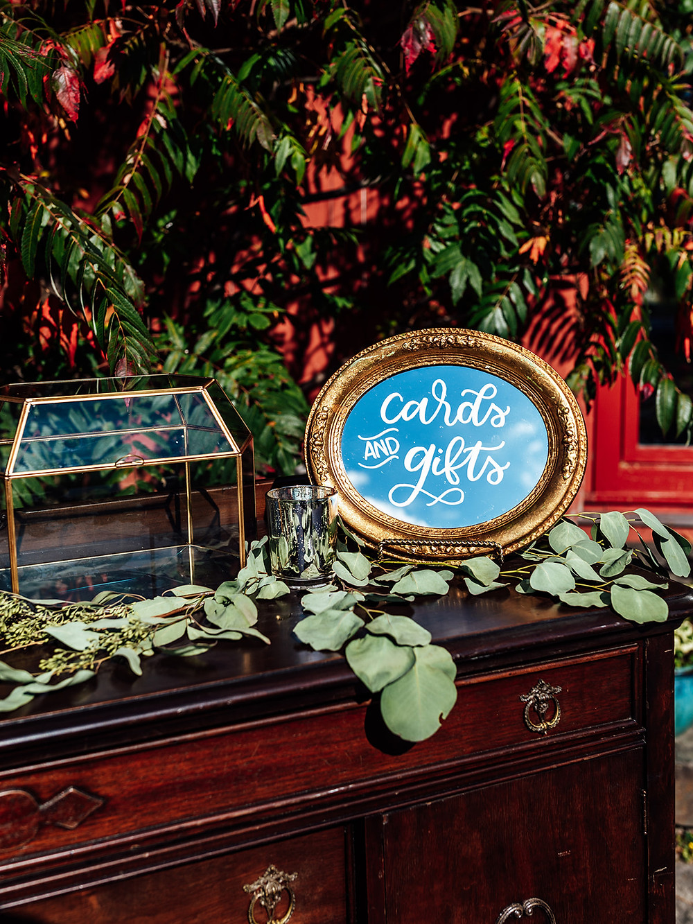 Gold wedding card sign: Vintage Glam Barn Wedding at The Treman Center