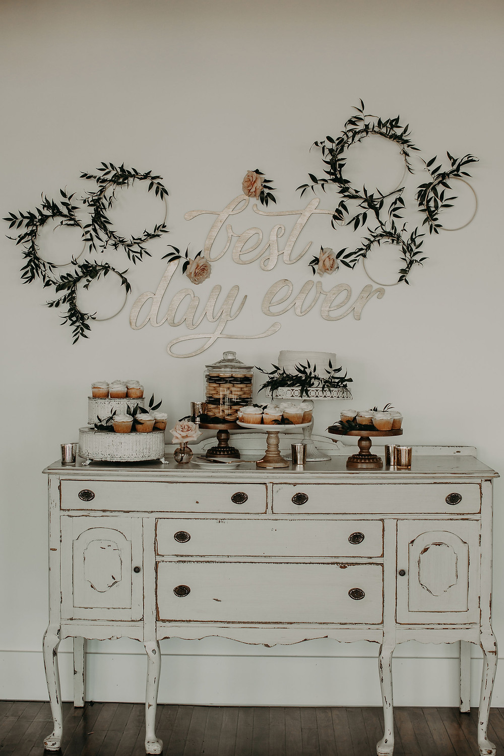 Wedding cake table with laser cut sign: Summer Small Wedding at The Lincoln Loft by Pretty Little Vintage Co.