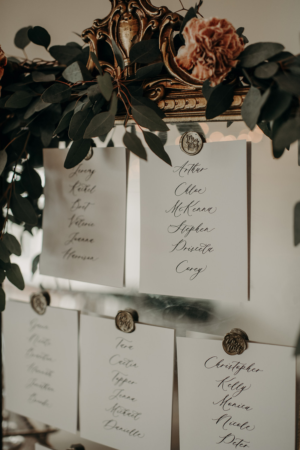 Antique wedding escort card display