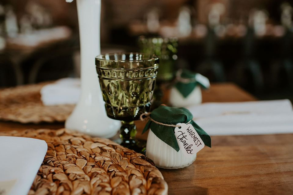 Green goblet decor: Modern Greenery Baby Shower at Maggie's on the River featured on Pretty Little Vintage Co.