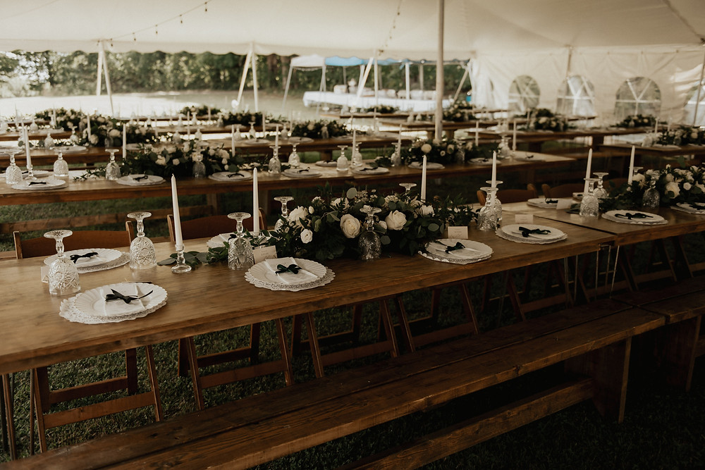 Wood family style wedding tables for outdoor reception