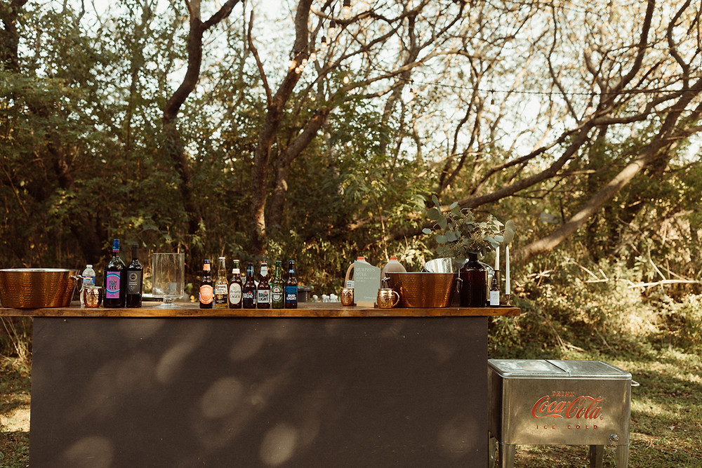 Outdoor Wedding Bar Display | Outdoor wedding at The Kester Homeland | Pretty Little Vintage Co.